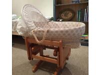 Mothercare Rocking Gliding Moses Basket and stand