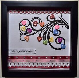 Black Box Frame - Beautiful Hearts of Love perfect to loved ones *Handmade painting & Hand crafted*