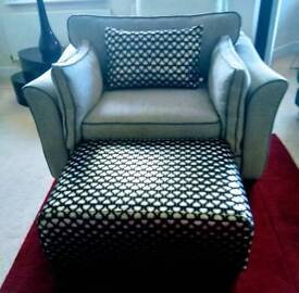 Giant Chair with Footstool & Cushion