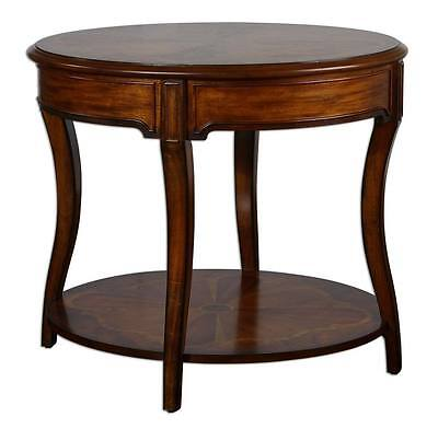 Ornate INLAID Burlwood Round ACCENT TABLE Cherry Antique Style Lamp OVAL