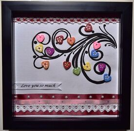 Black Box Frame - Beautiful Hearts of Love perfect gift to loved ones *Original & Handmade*