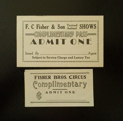 Vintage ~ F.C. Fisher & Son Trained Animal Shows ~ 2  Complimentary Tickets