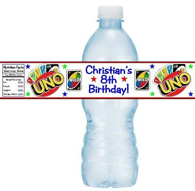 12 UNO Playing Cards Game Birthday Party Baby Shower Water Bottle Stickers ](Uno Birthday Party)