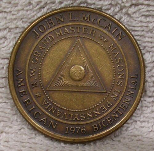 John L. McCain Grand Master of Masons in Pennsylvania - Philadelphia Lodge Medal