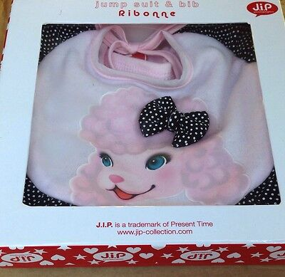 J.I.P Pink Poodle Jump Suit and Bib, 6-12 Months, Baby Gift