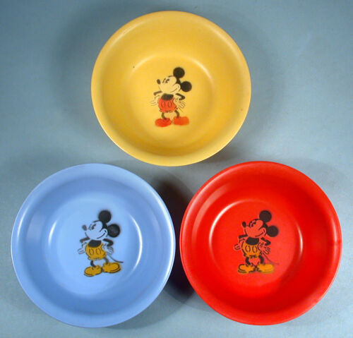 1930s Mickey Mouse 3 Beetleware Bowls Post Cereal Premium Walt Disney Ent.