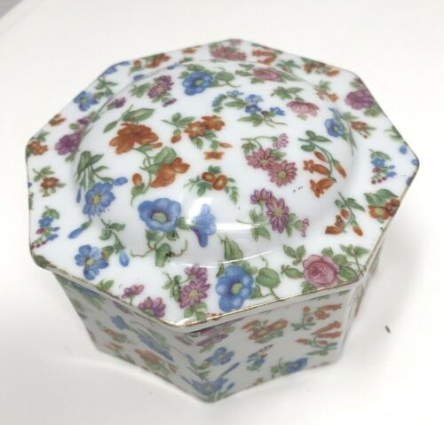 Chintz China Trinket Dresser Box with Gold Trim Made in Japan No: 2748 Octagon