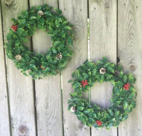 """2 Vintage Plastic Christmas Wreath Holly Leaves & Berries 13"""""""