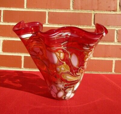 One of a kind! Red Art Glass Handkerchief Vase Candy Dish Signed Textured Glass Mid Century