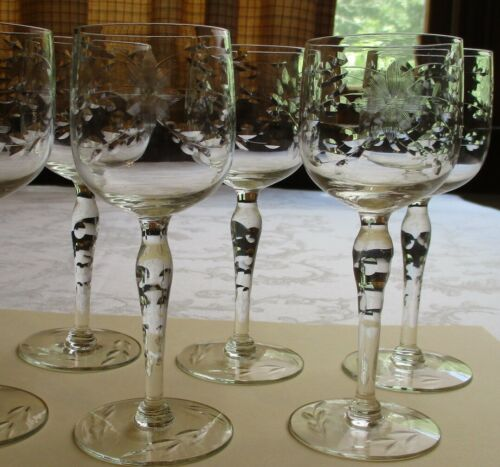 Wine glasses set of 6.  vintage blown glass with cut floral 4 ounce