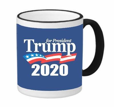 President Trump 2020 For President  Political DT Coffee 11 Oz Mug Black Rim NEW ()