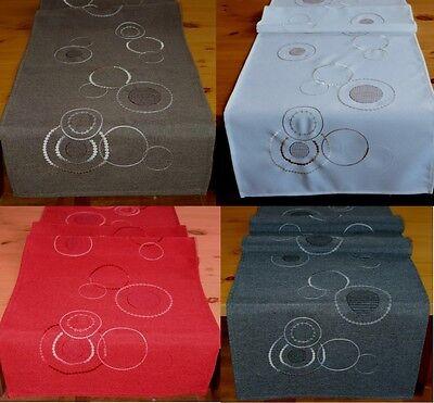 Tischläufer Kreise 40x140 cm in Feinleinen-Optik edel bestickt Tischdekoration