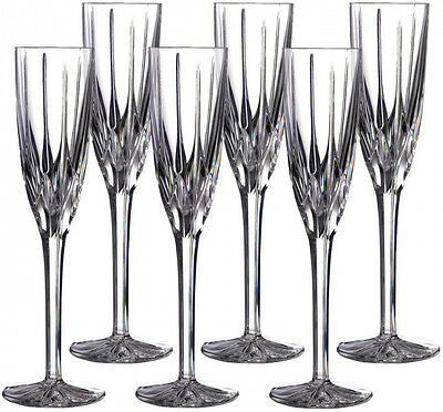 ROYAL DOULTON CRYSTAL 'FLAME' 6 FLUTE CHAMPAGNE GLASSES (BOXED) - NEW
