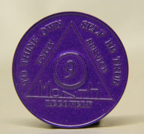 ALCOHOLICS ANONYMOUS  9   MONTH ANNIVERSARY CHIP - TOKEN MEDALLION