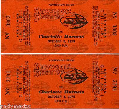 1975 Shreveport Steamer / Houston Texans vs. Charlotte Hornets Unused Tickets 2