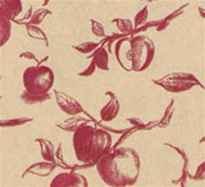 Apple Toile Gift Wrap Tissue Paper- Red on Kraft Printed- 10 Patterned Sheets ()