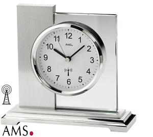 AMS Tischuhr 5140 Funk Funkuhr Uhr  geschliff. Mineralglas Stiluhr NEU