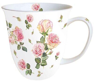 Tasse, Porzellantasse ROSIE white 0,4l Ambiente | Teetasse Shabby Rose White Rose Tasse
