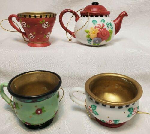 Mary Engelbreit Christmas Spice Teacup Ornaments Set of 4 ME