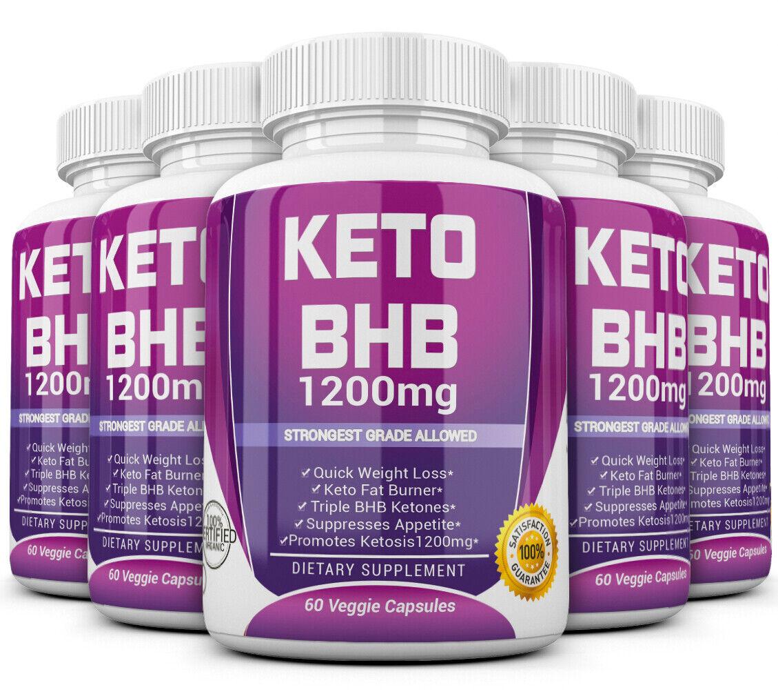 5 X KETO BHB 1200mg PURE Ketone FAT BURNER Weight Loss Diet Pills Ketosis