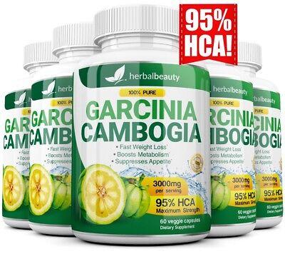 5 Pack Garcinia Cambogia 95  Hca Diet Pills Weight Loss Fat Burner 3000Mg