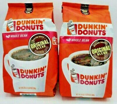 Dunkin Donuts Coffee Whole Bean Original Blend Medium Roast 2 bags 20 oz each