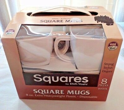 Cups SQUARES EMI-YOSHI Square Mugs WHITE Plastic Disposable Camping Heavyweight