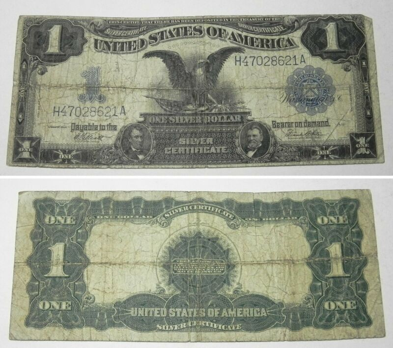 1899 Large Size Black Eagle Silver Certificate $1 Note, H47028621A, Date Right