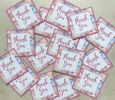 14 THANK YOU Small 3cm Squares Sentiments Hand Made Card Toppers FLORAL PINK