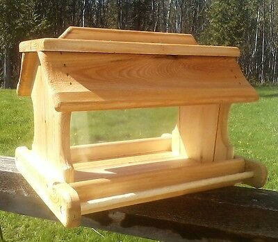 Very large handmade cedar wood square post mount bird feeder,TBNUP #1
