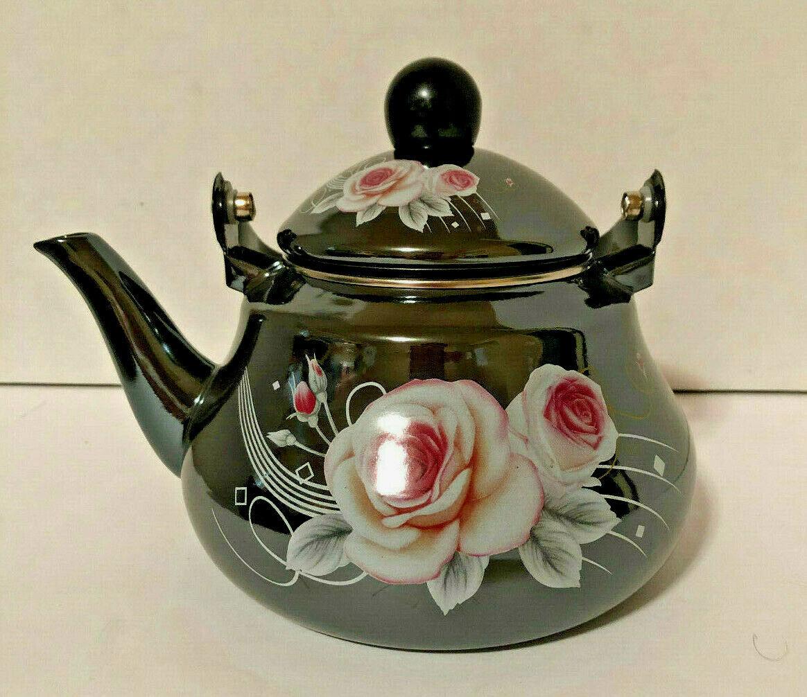 1.5 L  Tea Pot  Enamel Coated Kettle Water with floral desig