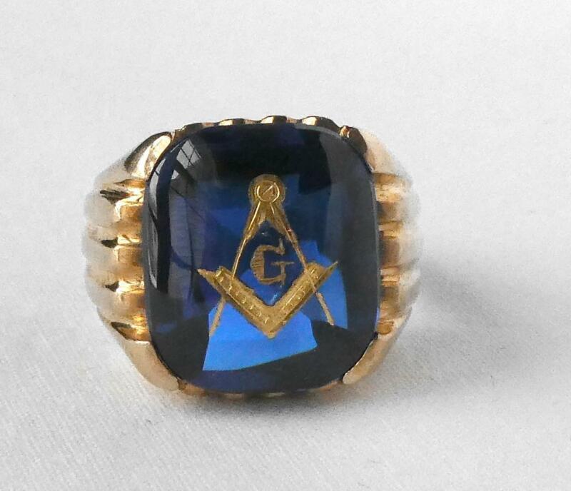 Vintage Baden Foss 10k Gold Mens Blue Spinel Mason Masonic Ring 10.6g Sz 9.5 B+F