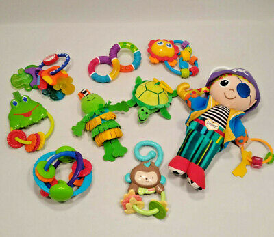 Lot of Baby Toys Developmental Teething Rattles Hanging Plush Lamaze & Others