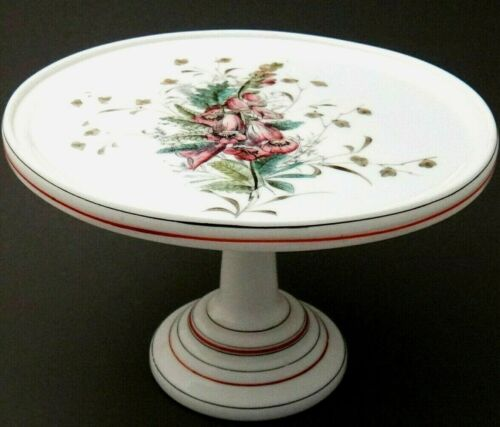 """Antique Milk Glass Cake Stand 9""""x6"""", Fine Hand Painted Bell Flowers, Unique"""