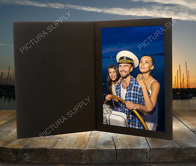 4x6 Textured Black Cardboard Photo Folders - Pack of -