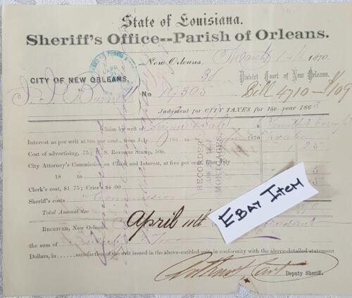 1870 New Orleans LA Tax Judgement Sate of LA Sheriff