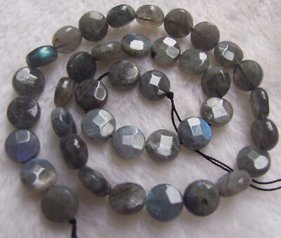 8mm 10mm 12mm 14mm 16mm Natural Labradorite Faceted Coin Loose Beads 15.5