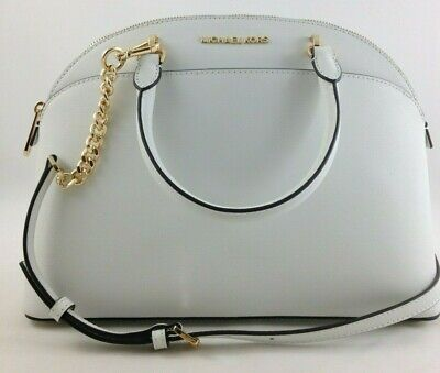 New Authentic Michael Kors Emmy Large Dome Satchel Purse Optic White Leather