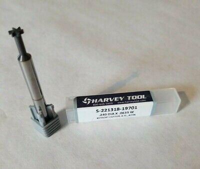Keyseat Cutter .240 Dia. X .0635 W Carbide Altin 6 Flute Usa Harvey Tool Nos