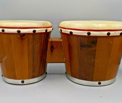 Vintage Bongo Drums Staved Natural Wood & Heads Percussion Bongos