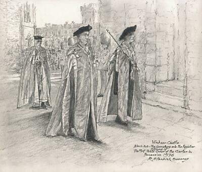 fdab2f80 ROBERT STANDISH-SWEENEY Pencil Drawing 1976 WINDSOR CASTLE BLACK ROD
