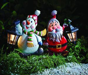 XXL Metall Gartenstecker Dekofigur Schneemann Weihnachtsmann mit  Solarlaterne