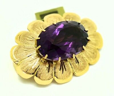 GENUINE 7.92 Cts AMETHYST BROOCH PIN 14k YELLOW GOLD * New With Tag * 7.2 grams