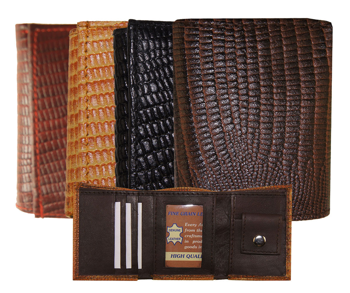 Kids Mini Leather Alligator Imprint Tri Fold Wallet 3