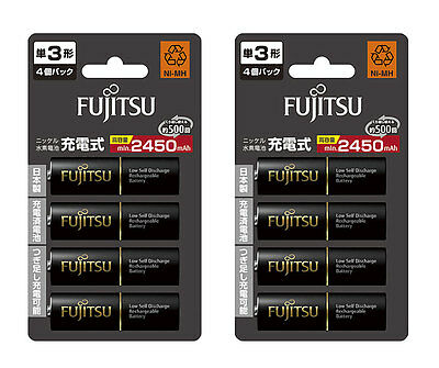 AA Size Rechargeable Batteries Fujitsu 2450mAh Made in Japan AA Eneloop Battery