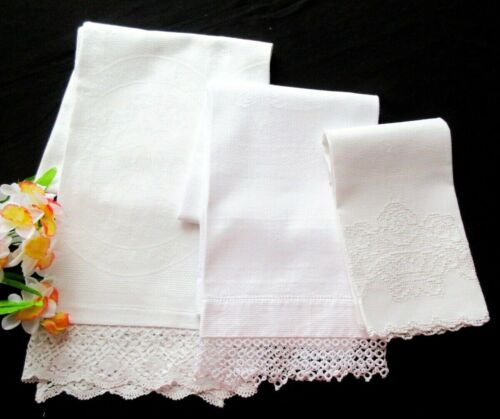 Set of Three Antique Victorian White Linen Huck Towels With Sweet Handmade Lace
