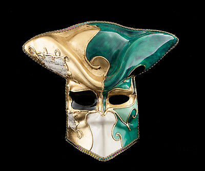 Mask Casanova from venice Bauta Green Carnival Venetian Ballroom VG14 1475