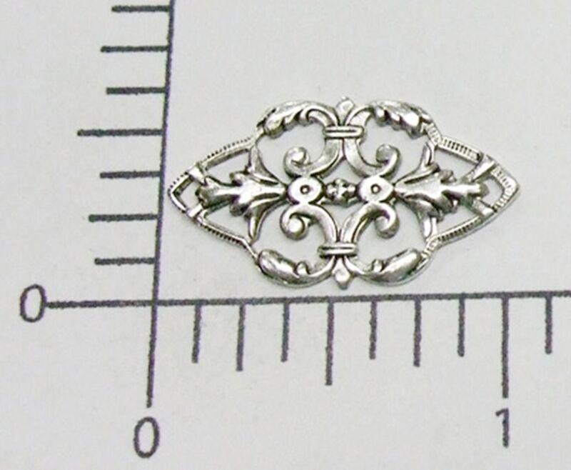 25094         2 Pc Matte Silver Oxidized Victorian Filigree Jewelry Finding