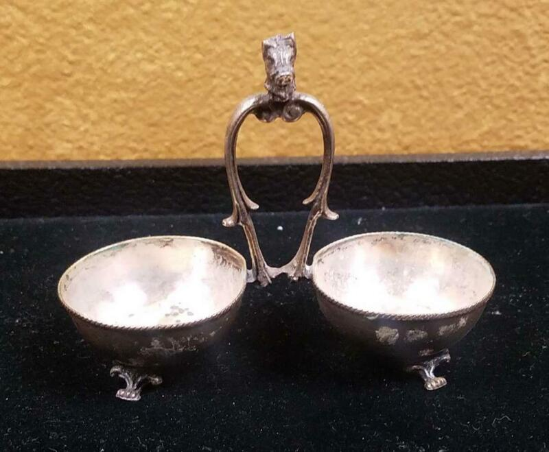 Antique Apothecary Sterling Silver Mixing Bowls | Double | Medicine Spoon