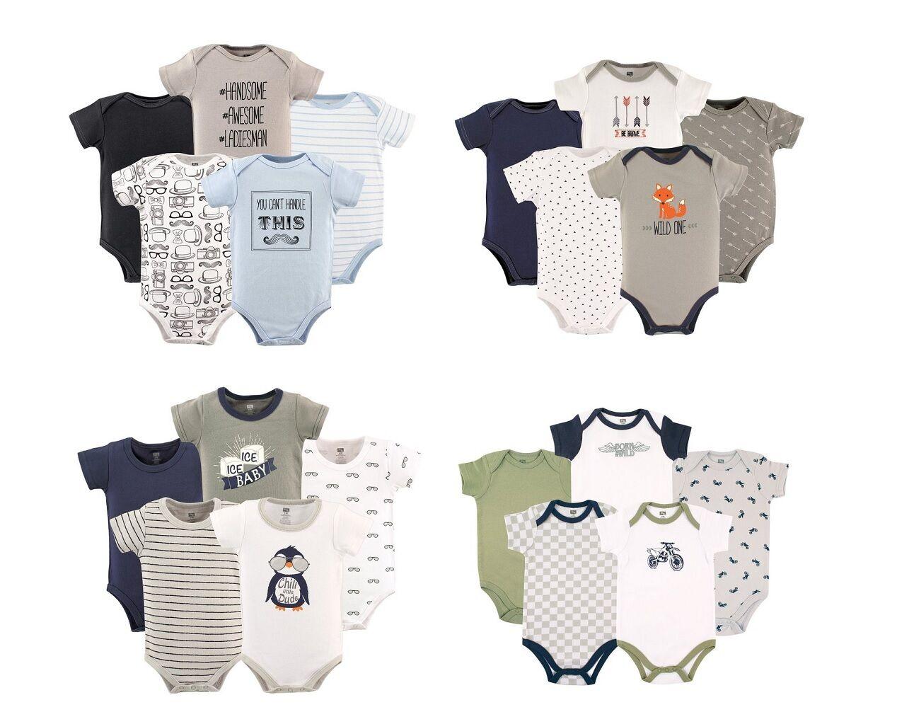 HUDSON BABY BOYS 5-PACK BODYSUITS COTTON NEWBORN TO 12 MONTH